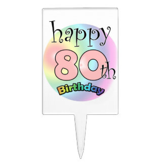 Happy 80th Birthday (pink) Cake Toppers
