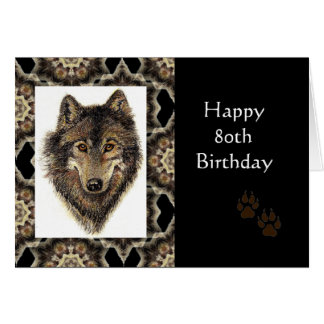 Happy 80th Birthday with Watercolor Wolf Greeting Card