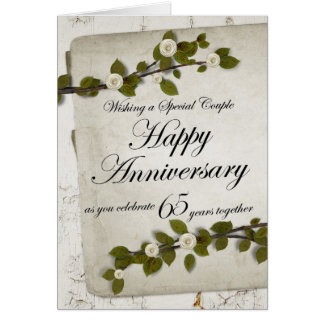 Happy Anniversary as you Celebrate 65 Years Togeth Greeting Card