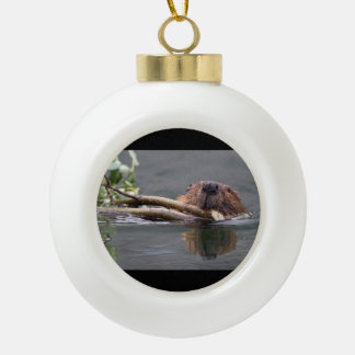 Happy Beaver Ceramic Ball Decoration