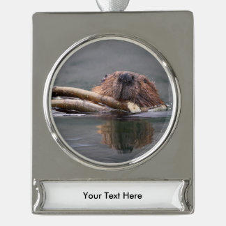 Happy Beaver Silver Plated Banner Ornament