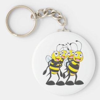 Happy Bee Family Basic Round Button Key Ring
