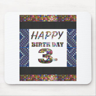 Happy Birthday 3rd Text Mouse Pad