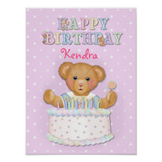 Happy Birthday Bear Girl - Customize Poster