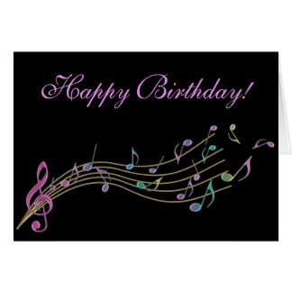 Happy Birthday  Colorful Music Notes Card