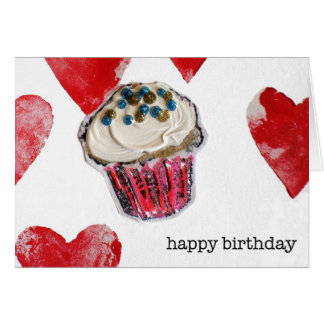 happy birthday, cupcake hearts greeting card