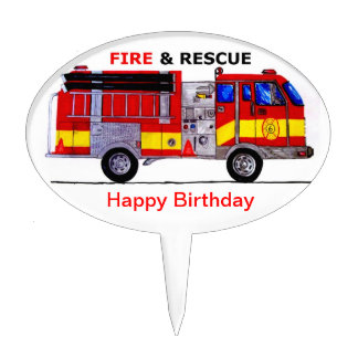 Happy Birthday Fire And Rescue Cake Topper