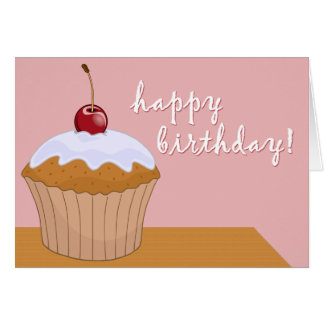 happy birthday : giant cupcake : greeting card