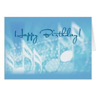 Happy Birthday, Music on Blue Greeting Card