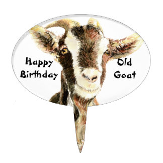 Happy Birthday Old Goat Humor Cake Picks