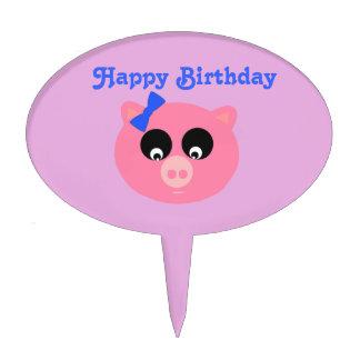 Happy Birthday Piggy Face Oval Cakepick Cake Pick
