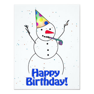 Happy Birthday  Snowman 11 Cm X 14 Cm Invitation Card