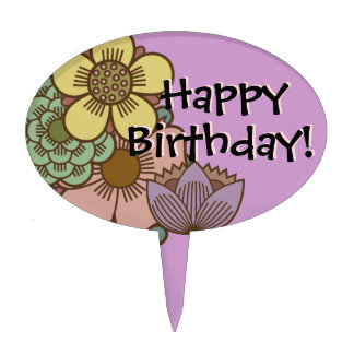 """""""Happy Birthday"""" with Flowers - Cake Topper - 2"""