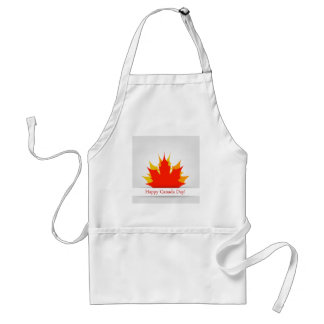 Happy Canada Day card with maple leaves Standard Apron