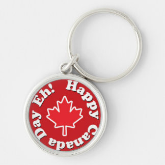 Happy Canada Day Eh! Silver-Colored Round Key Ring