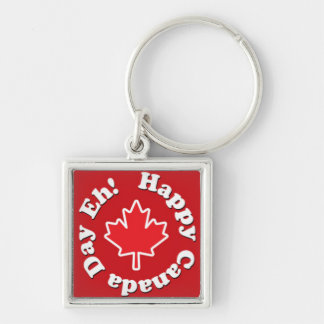 Happy Canada Day Eh! Silver-Colored Square Key Ring