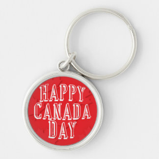Happy Canada Day on Red Maple Leaf Background Silver-Colored Round Key Ring