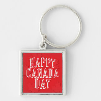 Happy Canada Day on Red Maple Leaf Background Silver-Colored Square Key Ring
