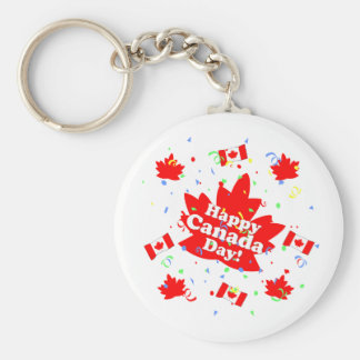 Happy Canada Day Party Basic Round Button Key Ring