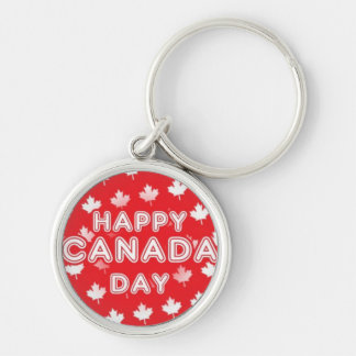 Happy Canada Day Silver-Colored Round Key Ring