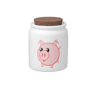 Happy Cartoon Pig Candy Jars