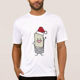 Happy Christmas Burrito Waving Hello Santa Hat Tshirt