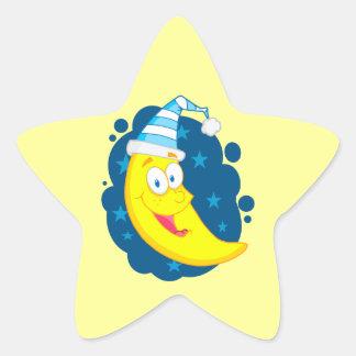 happy cute goodnight moon cartoon star sticker