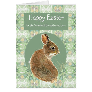 Happy Easter Daughter-in-Law Bunny Rabbit Greeting Card