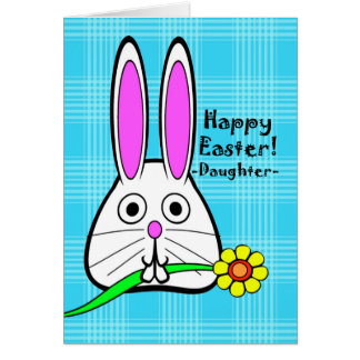 Happy Easter for Daughter, Cute Rabbit with Flower Greeting Card