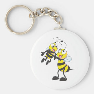Happy Father and Son Bee Having Fun Basic Round Button Key Ring