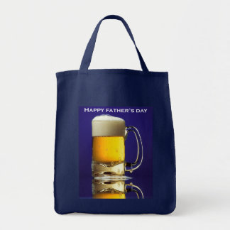 Happy Fathers Day Glass of Beer Grocery Tote Bag