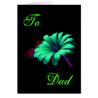 Happy Father's Day Green Blue Daisy III Greeting Card