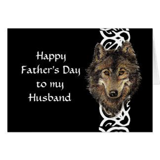 Happy Father's Day Husband Wild Wolf Head Greeting Card