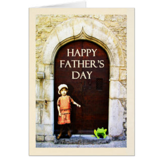 Happy Father's Day. little girl and green frog Greeting Card