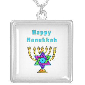 Happy Hanukkah Square Pendant Necklace