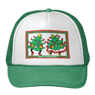 Happy Holidays Funny Dancing Christmas Trees Cap