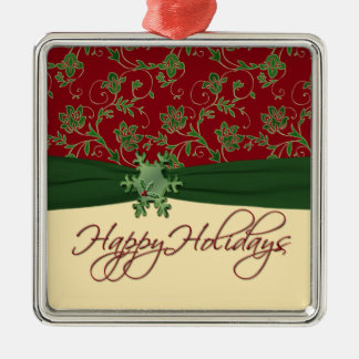 Happy Holidays Red and Green Premium Ornament