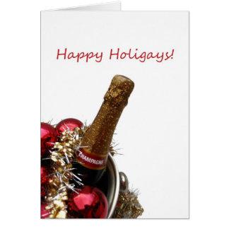 Happy Holigays gay x-mas card champagne