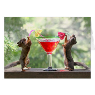 Happy Hour Squirrels Greeting Card