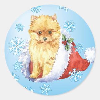 Happy Howliday Pomeranian Round Sticker