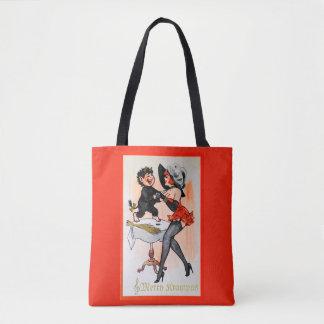 Happy Krampus and Temptress Vintage Christmas Tote Bag