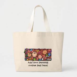 Happy Little Babies. Customizable tote Jumbo Tote Bag