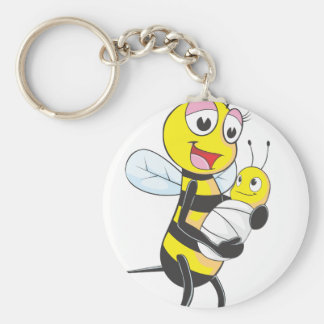 Happy Mother and Baby Bee Basic Round Button Key Ring