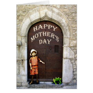 Happy Mother's Day, little girl and green frog. Greeting Card