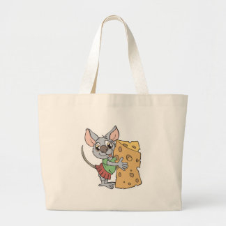 happy mouse with cheese jumbo tote bag