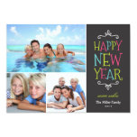 Happy New Year Whimsical Holiday Photo Card 13 Cm X 18 Cm Invitation Card