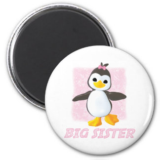 Happy Penguin Big Sister 6 Cm Round Magnet