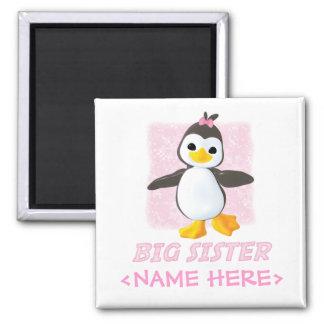 Happy Penguin Big Sister Square Magnet