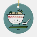Happy Pho Noodle Bowl Round Ceramic Decoration