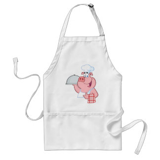 Happy Pig Chef Holding A Platter Sign Standard Apron